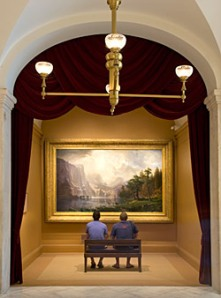 "A gallery at the National Museum of American Art featuring Albert Bierstadt's painting ""Among the Sierra Nevada, California""."