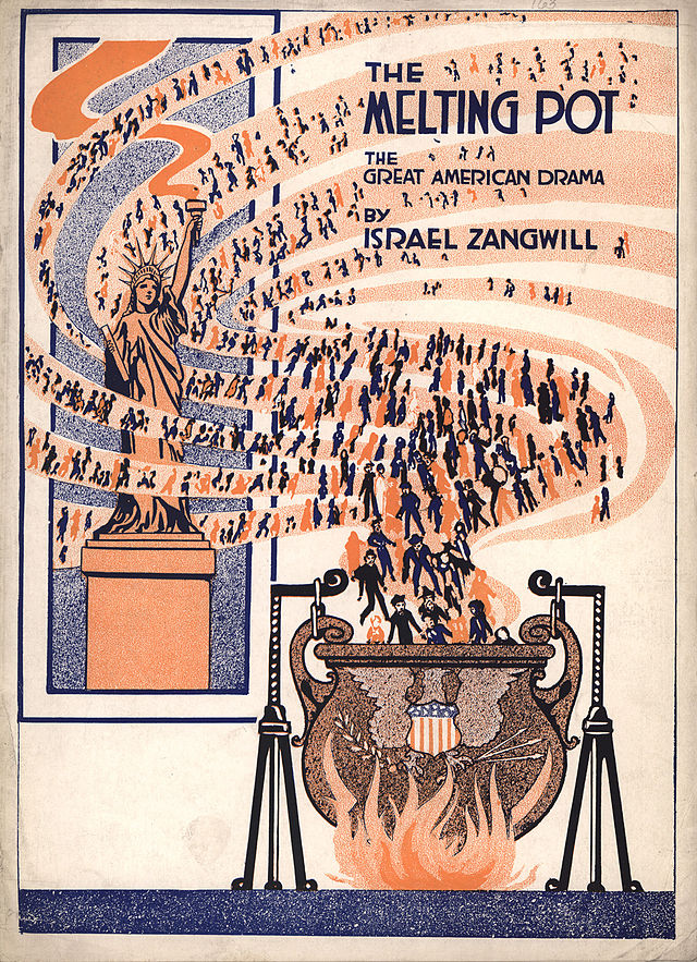 The idea of a cultural melting pot - an idea with its roots in evolutionary social theory - is exemplified in this 1908 poster.
