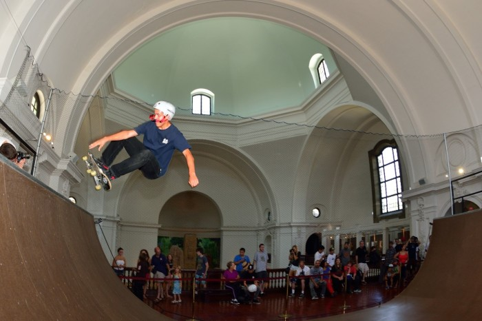 Skateboarding at San Diego Museum of Man