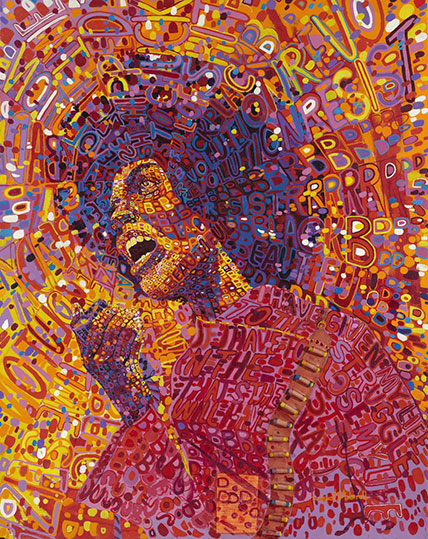 Wadsworth A. Jarrell, Revolutionary (Angela Davis), 1971, on view in the current exhibition at the Brooklyn Museum. Photo from http://superselected.com/exhibitions-featuring-black-artists/ and labeled for reuse according to Google.