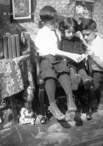 Three children from the Confino family, one of the families that lived at 97 Orchard Street, now the Tenement Museum.