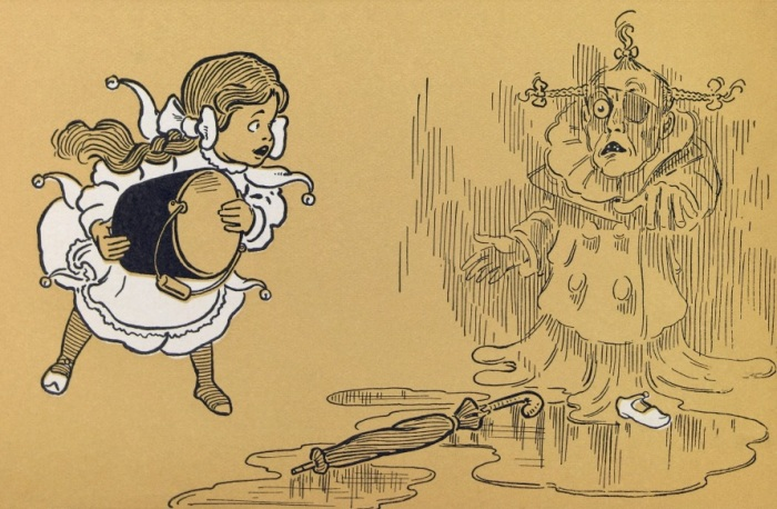 Original illustration of Dorothy killing the Wicked Witch, from the Wizard of Oz
