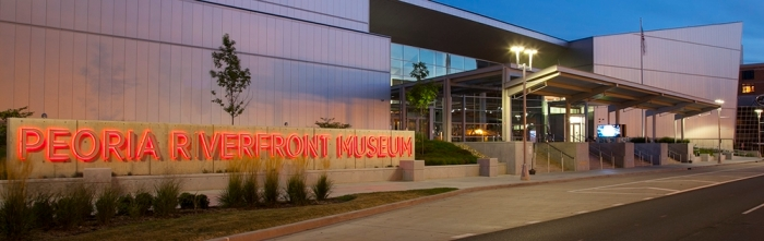 The exterior of the Peoria Riverfront Museum, in downtown Peoria
