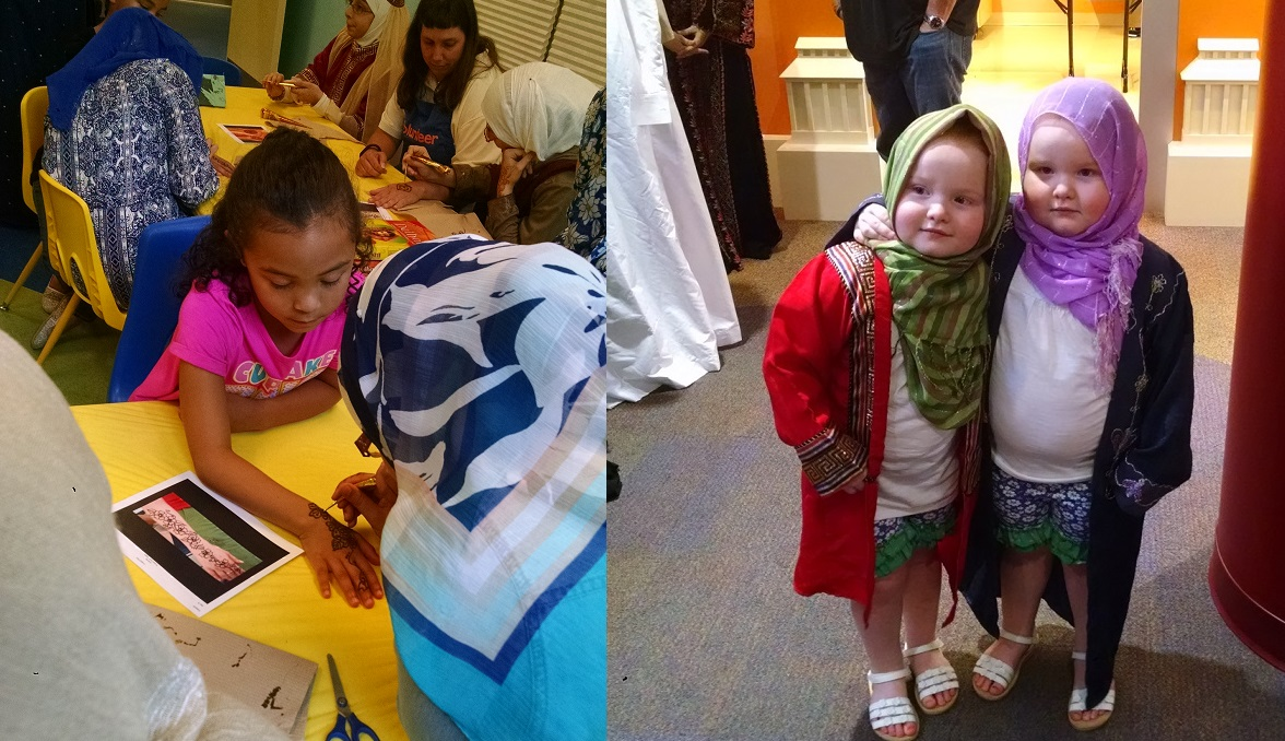 Eid-al-Fitr at the PlayHouse. Left: A visitor gets henna on her hand. Right: Two visitors try on traditional Muslim clothing.