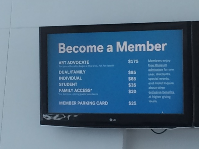 Membership sign at Milwaukee Art Museum